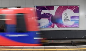A 5G network poster on London Underground as the latest wireless network is introduced into Britain.