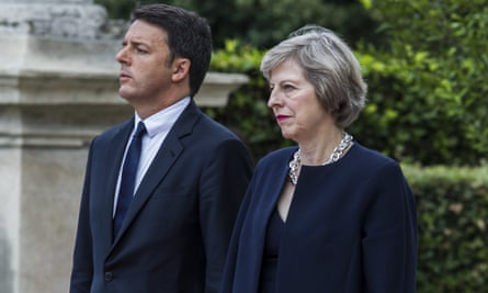 Matteo Renzi and Theresa May during the British prime minister's visit to Rome