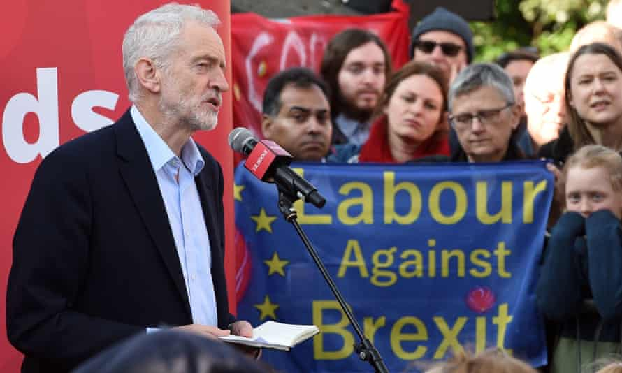 Labour party leader Jeremy Corbyn addresses a rally, in Broxtowe, central England.