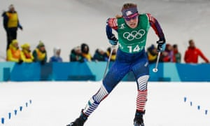 America's Jessica Diggins held on during an enthralling final straight to clinch gold for USA, for the first time in the ladies' team sprint.