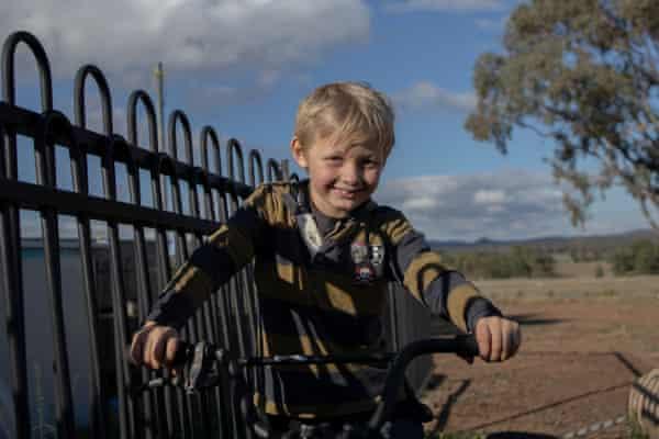 Harry, 7, on the family farm