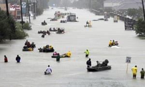 Floodwaters brought on by tropical storm Harvey in Houston on 28 August 2017. Scientists say climate change has caused more rain in hurricanes Harvey, Maria, Katrina and others.