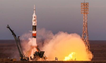 Soyuz-FG rocket carrying Soyuz MS-11 spacecraft launched from Baikonur Cosmodrome, KAZAKHSTAN, DECEMBER 3, 2018