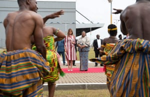 Melania Trump and Rebecca Akufo-Addo, the first lady of Ghana, watch traditional dancers during an arrival ceremony at Kotoka International airport, Accra.