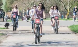 Cyclists in Kensington Gardens, west London