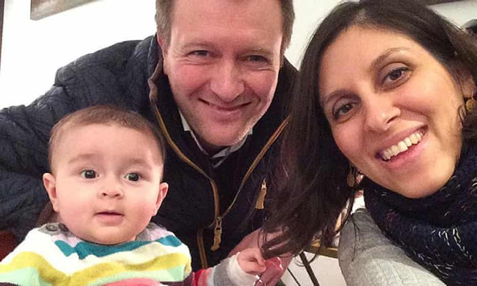 Ratcliffe and Zaghari-Ratcliffe with their daughter, Gabriella.