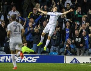 Leeds United's Chris Wood celebrates scoring his side's winning goal