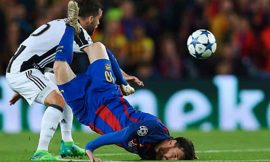 Barcelona's Lionel Messi in action against Miralem Pjanic of Juventus in the Champions League