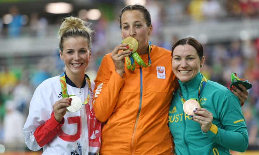 Australia's Anna Meares, right, smiled after her bronze behind Elis Ligtlee of the Netherlands and Becky James of GB in the keirin but later said of the British: 'How do they lift so much?'