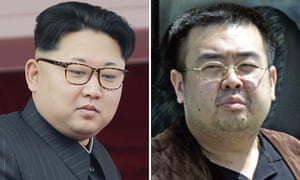The North Korean leader Kim Jong-un, left, and his exiled half-brother Kim Jong-nam.