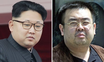 Kim Jong-un, left, and his brother Kim Jong-nam, who was murdered at Kuala Lumpur airport on Monday.