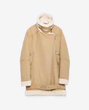 Beige sheepskin coat