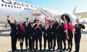 Qantas crew outside plane