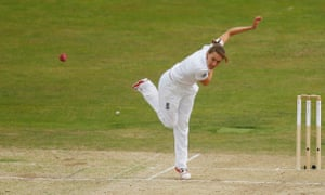 Laura Marsh bowling for England in the women's Ashes Test.
