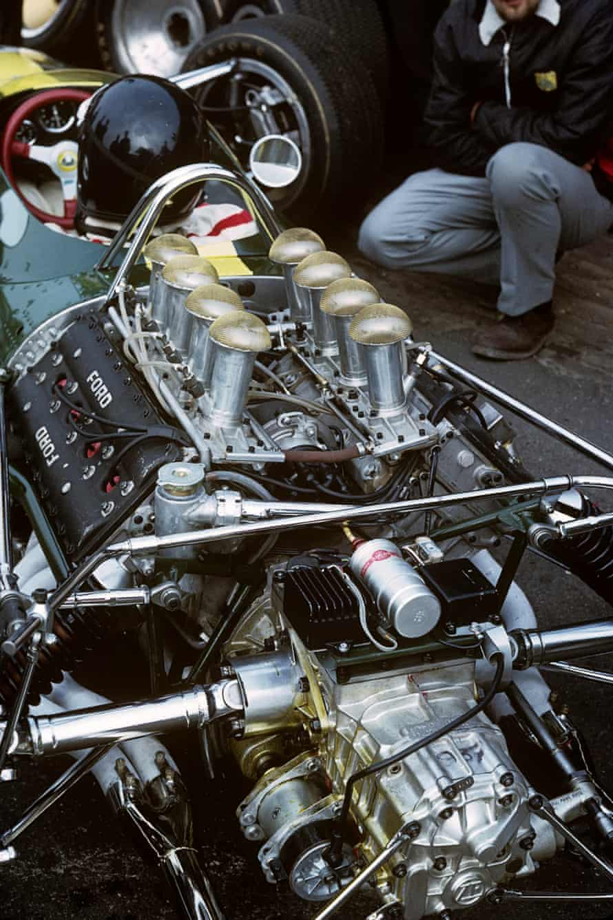 The Ford Cosworth Double Four Valve (DFV) V8 engine in Jim Clark's Lotus 49 at the 1967 Dutch Grand Prix