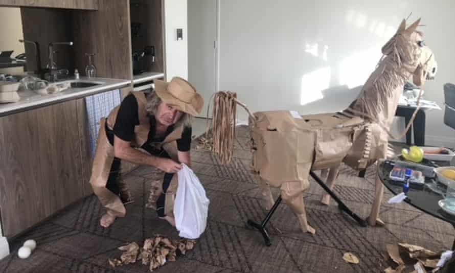 David Marriott and horse Russell in Brisbane hotel quarantine.