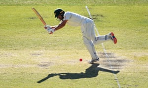 Australian batsman Joe Burns plays a shot on day three against New Zealand.