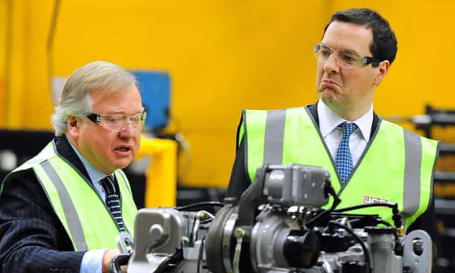 George Osborne, the chancellor, with Lord Bamford, on a visit to a JCB factory