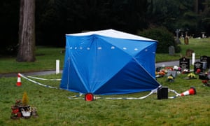 A tent used by police investigators covers the memorial for Alexander Skripal.
