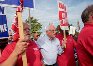 Bernie Sanders stands in solidarity with striking UAW workers in Hamtramck, Michigan, in September.