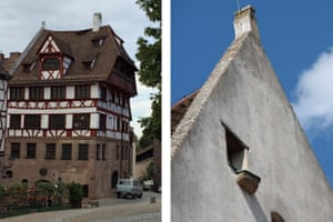 Two photos, to the right a full shot of a 5 storey German Renaissance house - sandstone to the second storey, white plaster and red wood above, with a half hip rood and small roof windows.  The second photo shows a close up of the gable end of the house, showing a small window and smaller ledge against a blue sky.
