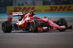 Raikkonen races his Ferrari.