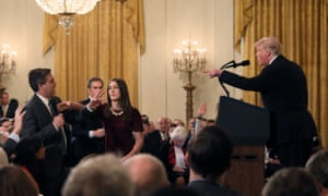 A famous confrontation between the president and Jim Acosta of CNN, at the White House in November 2018.