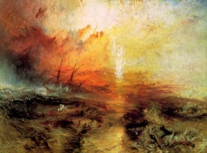 Slavers Throwing Overboard the Dead and Dying, Typhon Coming On (Slave Ship) by JMW Turner, 1840.