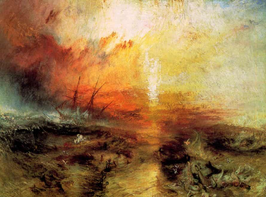 Slave Ship (Slavers Throwing Overboard the Dead and Dying, Typhoon Coming On), 1840, by JMW Turner.