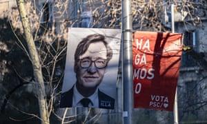 An electoral poster of Salvador Illa in central Barcelona.