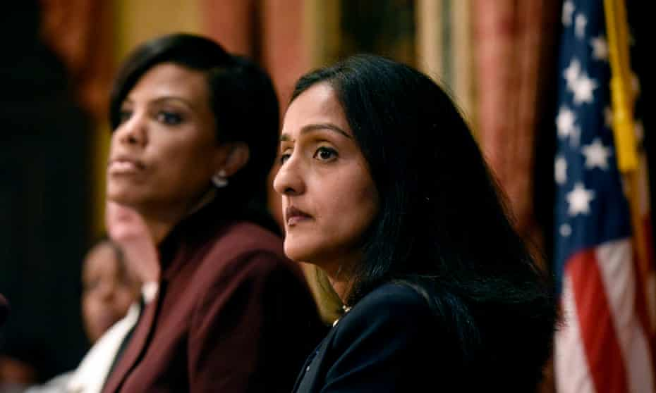 Vanita Gupta and Baltimore's mayor, Stephanie Rawlings-Blake, discuss the findings of the justice department regarding the city's police department in August 2016.