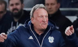 Neil Warnock remonstrating during Cardiff's game with Wolves