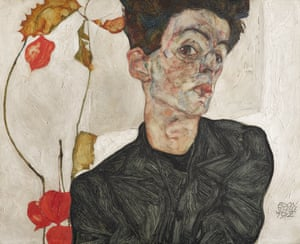 Self-Portrait with Chinese Lantern Plant, 1912 This painting illustrates a critical link between the artist's figural compositions, depictions of natural forms, and the essential role of the self-portrait within his practice. While traces of the softer, ornamental line remain, the forceful nature of the artist's expressionist line is remarkableEgon Schiele at Fondation Louis Vuitton from 3 October 2018 to 14 January 2019