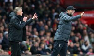 Ole Gunnar Solskjær (left) says Jürgen Klopp has done a great hjob at Liverpool.