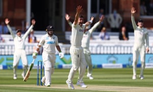 James Anderson of England appeals unsuccessfully for the wicket of Tom Latham of New Zealand.
