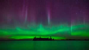The northern lights above an island at Voyageurs national park, Minnesota