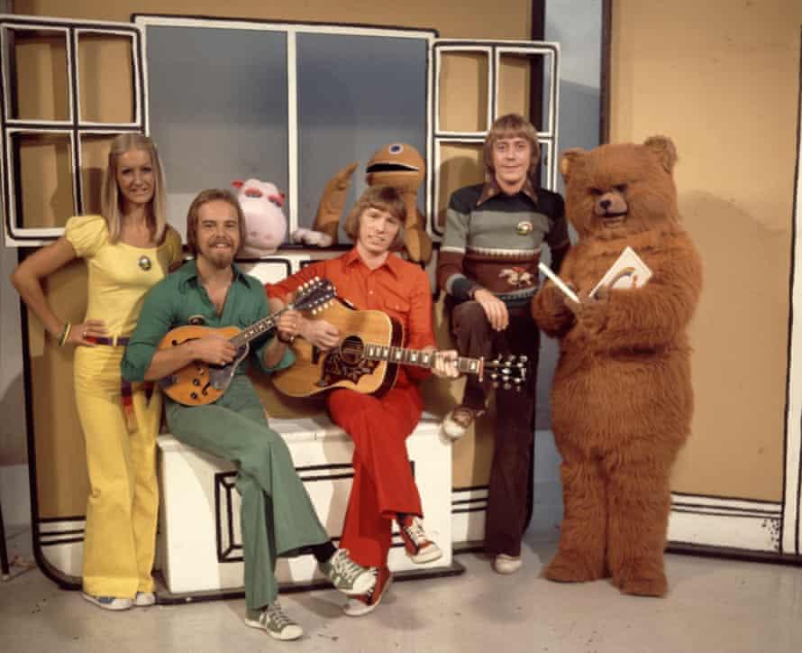Geoffrey Hayes, right, on the set of Rainbow with the show's singing trio Rod, Matt and Jane (Jane Tucker, Rod Burton and Matthew Corbett).