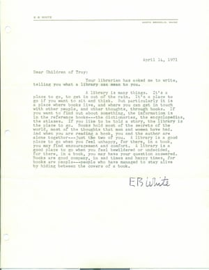 Letter from EB White to library in Troy, Michigan