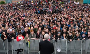 Jeremy Corbyn at a Labour rally in Gateshead in 2017