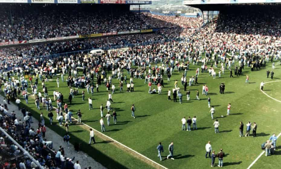 The scene at the Hillsborough football ground as the 1989 tragedy claimed 96 lives