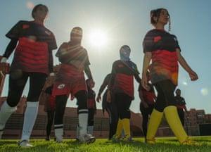 The women of the AMAR rugby team train at the Zerktouni Stadium