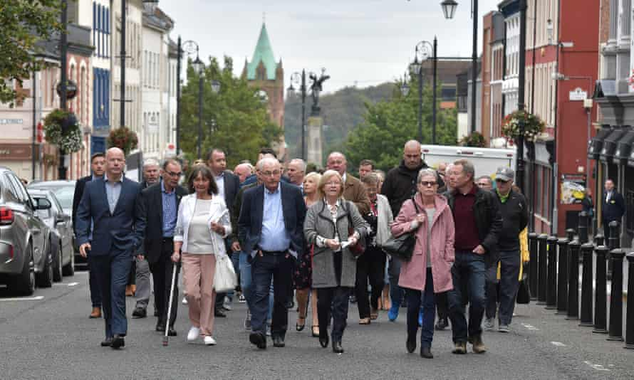 Families of Bloody Sunday victims make their way to Derry courthouse for the first listing of the case against Soldier F in September 2019