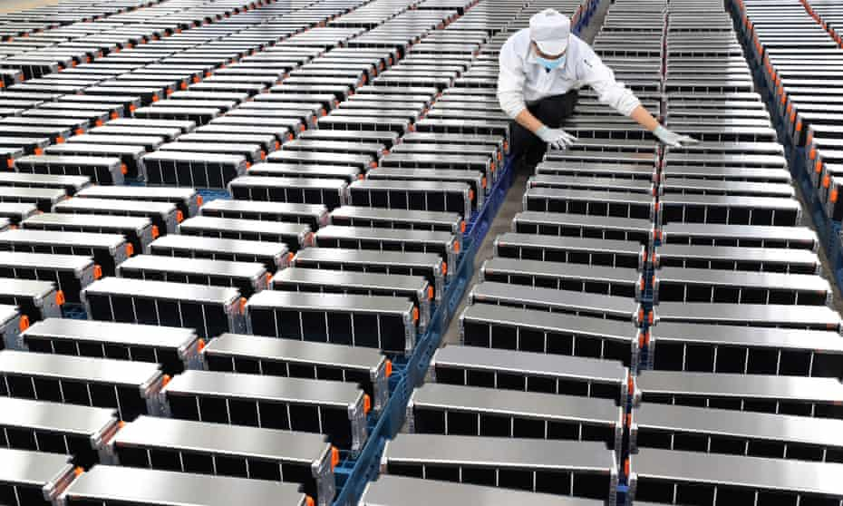 Batteries at a factory in Nanjing in China's eastern Jiangsu province, which makes lithium batteries for electric cars.