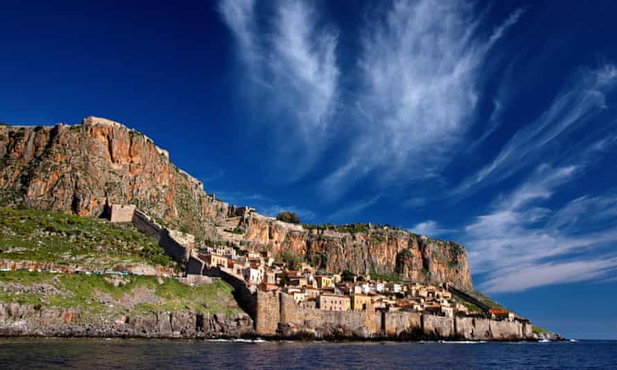 The medieval castle town of Monemvasia in the Peloponnese region of Greece