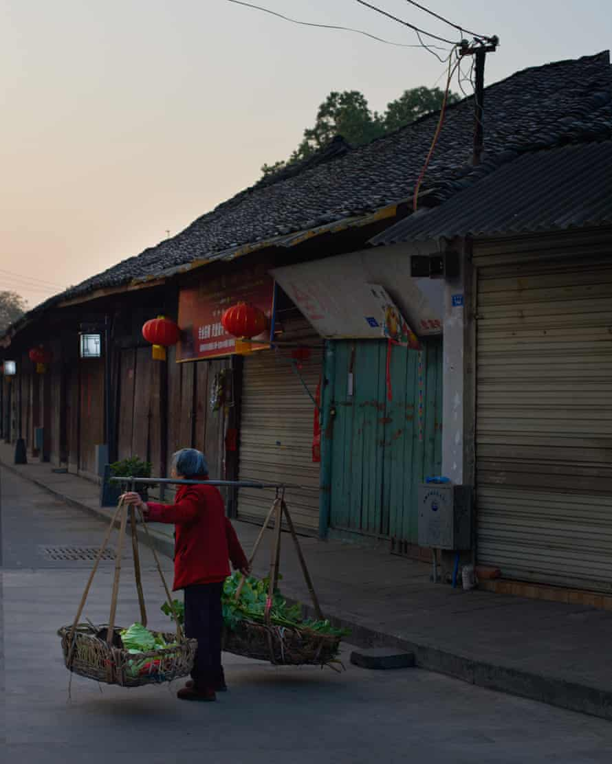 Old lady selling foraged roots and leaves, China