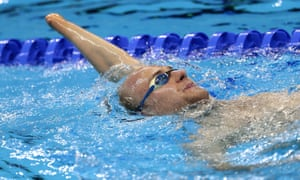 Swimming training session at the Olympic Aquatics Stadium.