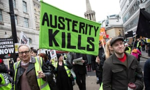 Anti-austerity protesters in London, January 2019