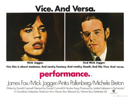 The original film poster of Performance starring Mick Jagger.