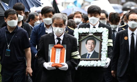 Mourners attend the funeral service in South Korea of Seoul mayor Park Won-soon on Monday.