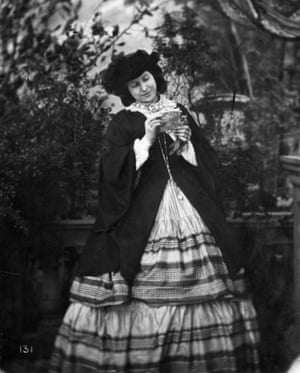 A woman wearing a crinoline, circa 1860.